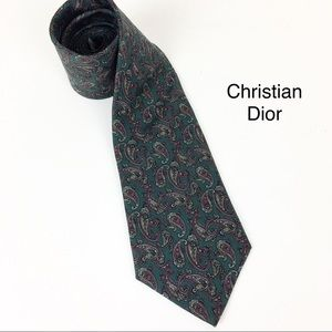 Christian Dior SILK Tie Paisley Green
